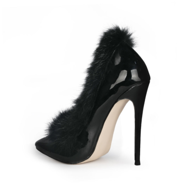 Black Faux Fur Stiletto Pumps Shoes Pointed Toe 5 inch Heels for Work