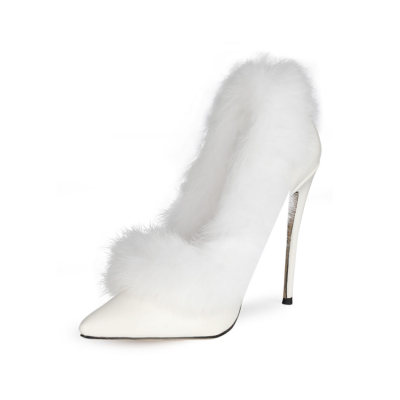 White Faux Fur Stiletto Pumps Shoes Closed Toe Heels for Wedding