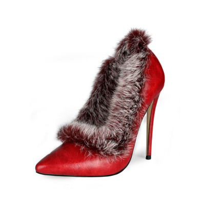 Faux Fur Stiletto Pumps Shoes Closed Toe Heels for Wedding
