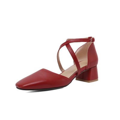 Burgundy Faux Leather Square Toe Cross Strappy D'orsay Low Heel Pumps