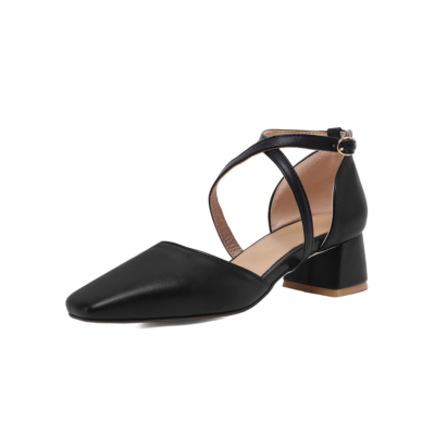 Black Faux Leather Square Toe Cross Strappy D'orsay Low Heel Pumps