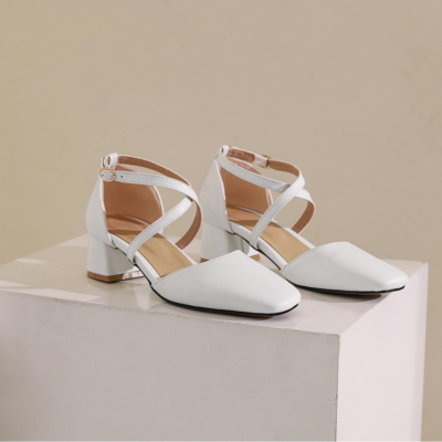 White Faux Leather Square Toe Cross Strappy D'orsay Low Heel Pumps
