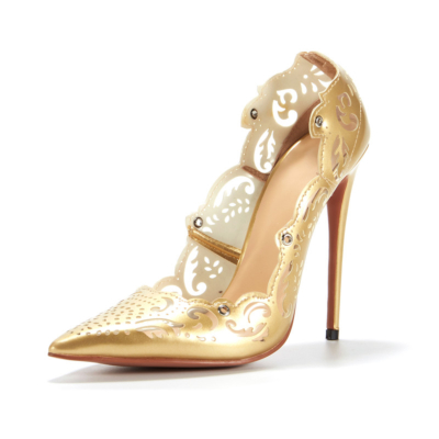Golden Flower Hollow Out Lace Up Stiletto Heels Pointed Toe Sexy Shoes