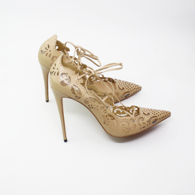 Apricot Flower Hollow Out Lace Up Stiletto Heels Pointed Toe Sexy Shoes