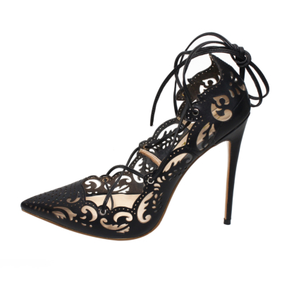 Black Flower Hollow Out Lace Up Stiletto Heels 5