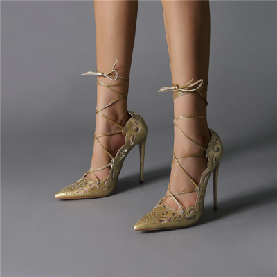 Flower Hollow Out Lace Up Stiletto Heels Pointed Toe Sexy Shoes
