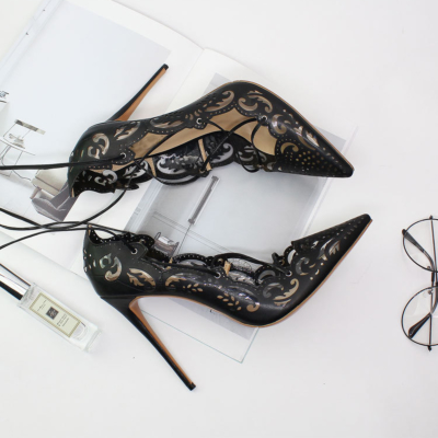 Black Flower Hollow Out Lace Up Stiletto Heels Pointed Toe Sexy Shoes