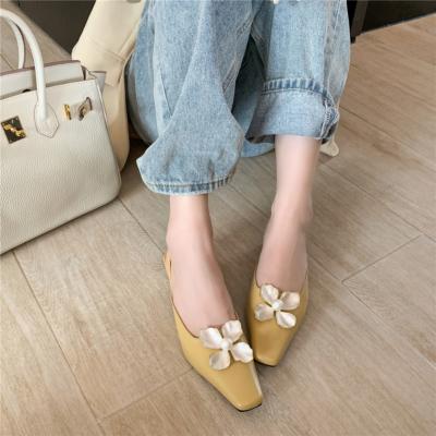 Yellow Flower Pearl Buckle Flats Leather Low Block Heels Mule Shoes