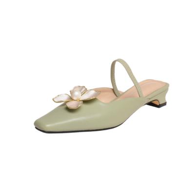 Green Flower Pearl Buckle Flats Leather Low Block Heels Mule Shoes