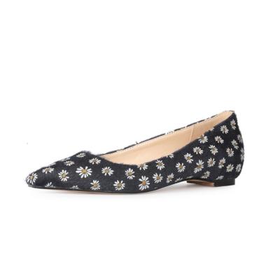 Black Flower Prints Faux Fur Flats Shoes 2021 Comfy Work Flat Pumps