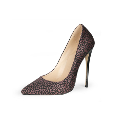 Brown Furry Cheetah Stiletto Pumps Womens Work Shoes with Closed Toe