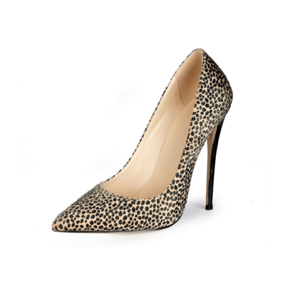 Beige Furry Cheetah-Print Stiletto Pumps Womens Work Shoes with Closed Toe