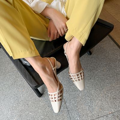 White Genuine Leather Hollow-out Slingback Block Heel Bridal Pumps