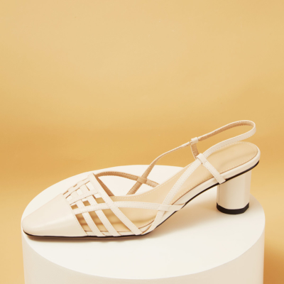 Genuine Leather Hollow-out Slingback Block Heel Bridal Pumps