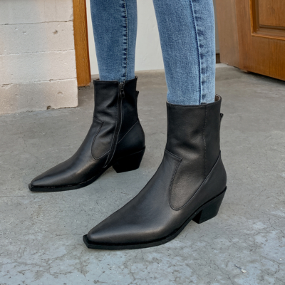 Black Genuine Leather Pointed Toe Side Zip Ankle Boots