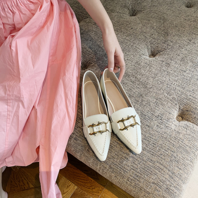 White Genuine Leather Pointy Toe Flats Women's Loafer Shoes