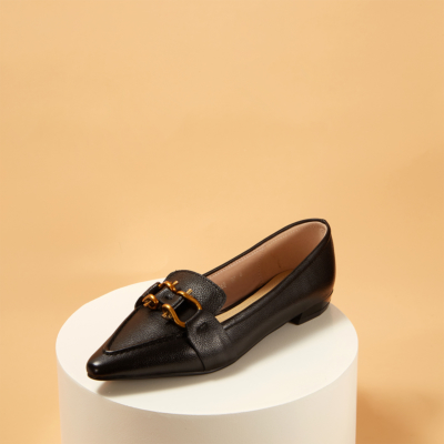 Genuine Leather Pointy Toe Flats Women's Loafer Shoes