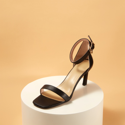 Black Genuine Leather Square Toe Ankle Strap Heeled Sandals