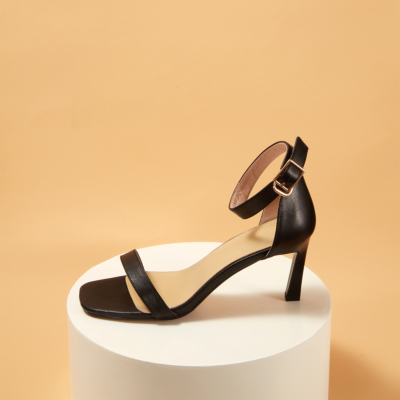Genuine Leather Square Toe Ankle Strap Heeled Sandals