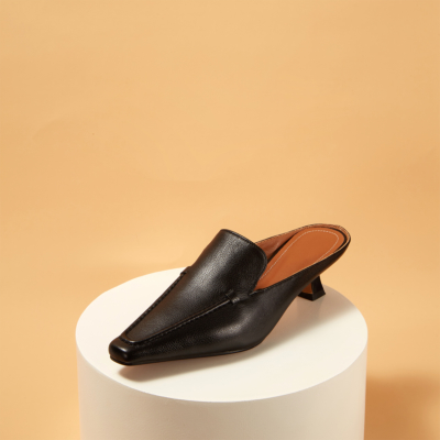 Genuine Leather Square Toe Low Heel Mule Loafer Shoes