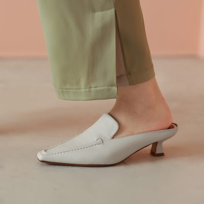 Beige Genuine Leather Square Toe Low Heel Mule Loafer Shoes