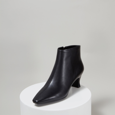 Genuine Leather Square Toe Side Zip Spool Heel Ankle Boots