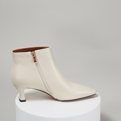 White Genuine Leather Square Toe Side Zip Spool Heel Ankle Boots