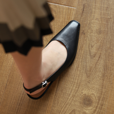 Black Genuine Leather Square Toe Slingback Low Heel Pumps