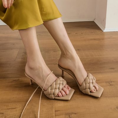 Nude Woven Spool Heel Mule Strappy Padded Sandals