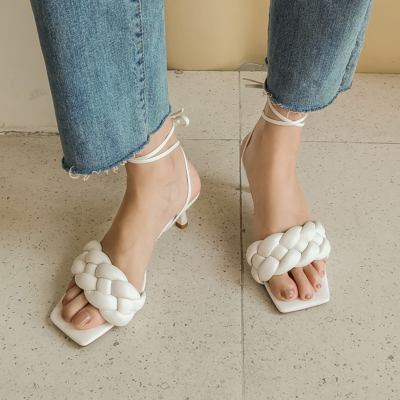 White Woven Spool Heel Mule Strappy Padded Sandals