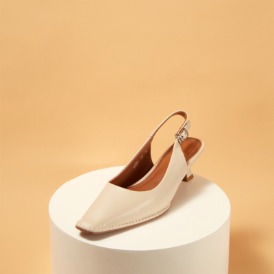 Genuine Leather Square Toe Slingback Low Heel Pumps