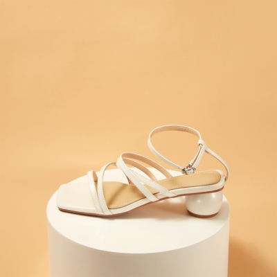 Genuine Leather Square Toe Strappy Buckle Low Heel Sandals