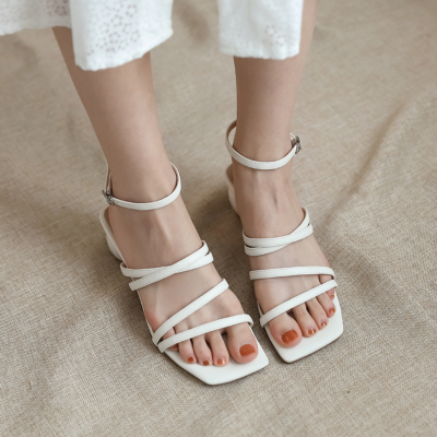 White Genuine Leather Square Toe Strappy Buckle Low Heel Sandals