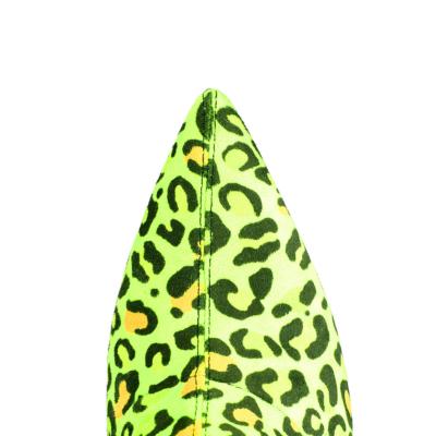 Neon Green Genuine Suede Elastic Block Heel Over-The-Knee Winter Boots