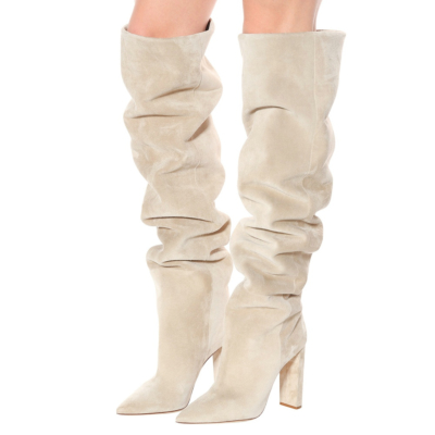 Beige Slouchy Boots Genuine Suede Over-The-Knee Boots with Block heel