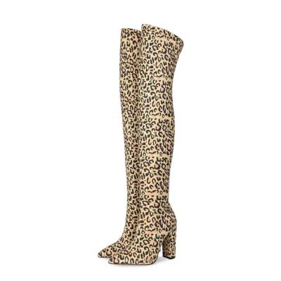 Genuine Suede Elastic Block Heel Over-The-Knee Winter Boots