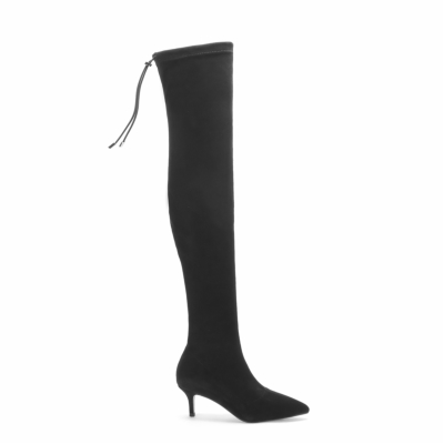 Black Suede Pointed Toe Stilettos Long Boot Thigh High Boots