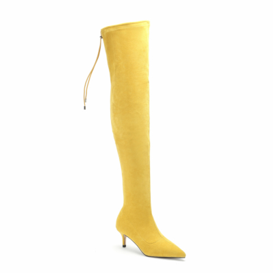 Genuine Suede Pointed Toe Stilettos Elastic Thigh High Boots