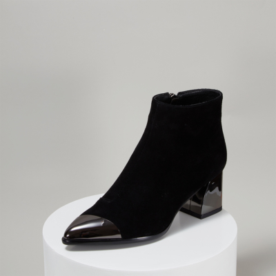 Black Suede Pointy Toe Side Zip Chunky Heel Ankle Boots