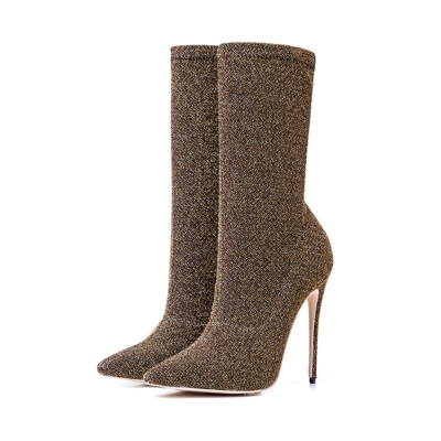 Golden Giltter Stiletto High Heels Sock Boots Stretch Elastic Dress Ankle Booties