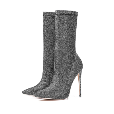 Silver Giltter Stiletto High Heels Sock Boots Stretch Elastic Dress Ankle Booties