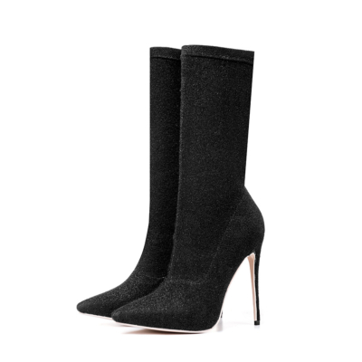 Black Giltter Stiletto High Heels Sock Boots Stretch Elastic Dress Ankle Booties