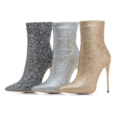 Giltter Stiletto High Heels Sock Boots Stretch Elastic Dress Ankle Booties