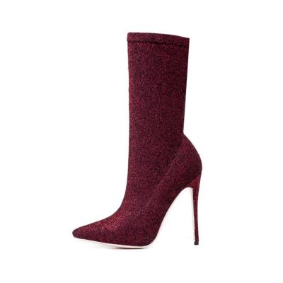 Burdundy Giltter Stiletto High Heels Sock Boots Stretch Elastic Dress Ankle Booties