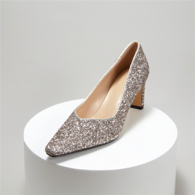 Glitter Bridal Block Heel Pumps Square Toe Sequined Shoes With Low Vamp