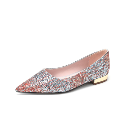 Red and Sliver Glitter Flats Pointed Toe Sequined Pumps Work Shoes for Women
