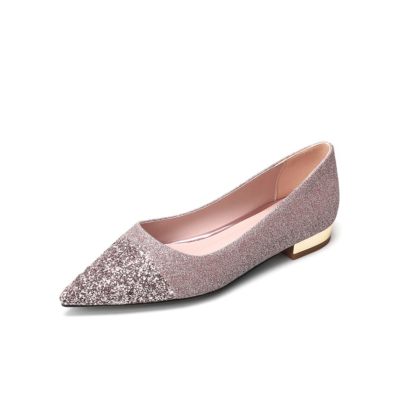 Glitter Flats Pointed Toe Sequined Pumps Work Shoes for Women
