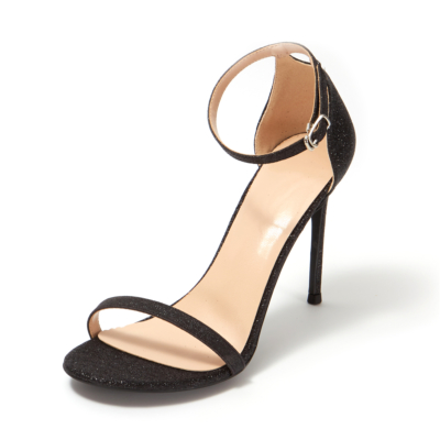 Black Glitter Open Toe Ankle Strap Sexy Stiletto Heel Sequined Sandals