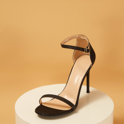 Glitter Open Toe Ankle Strap Sexy Stiletto Heel Sequined Sandals