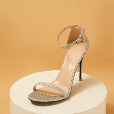 Silver Glitter Open Toe Ankle Strap Sexy Stiletto Heel Sequined Sandals